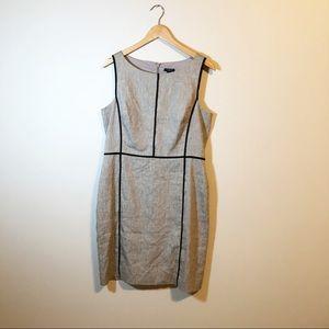 Ann Taylor grey sheath dress with black piping 12P